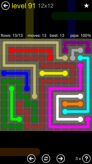 Solution and Answer to the Puzzle for Flow 12mania Pack Set 12x12 Level 91