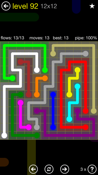 Solution and Answer to the Puzzle for Flow 12mania Pack Set 12x12 Level 92