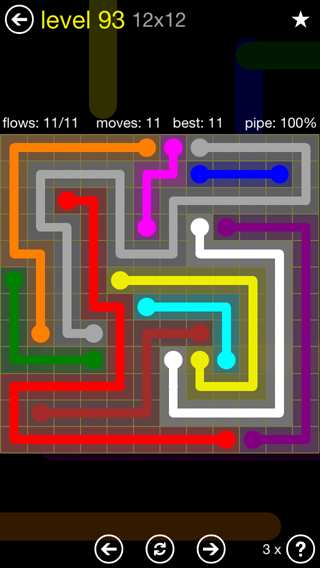 Solution and Answer to the Puzzle for Flow 12mania Pack Set 12x12 Level 93