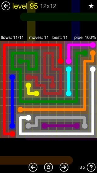 Solution and Answer to the Puzzle for Flow 12mania Pack Set 12x12 Level 95