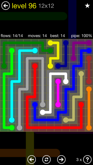 Solution and Answer to the Puzzle for Flow 12mania Pack Set 12x12 Level 96