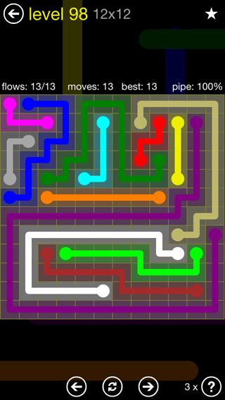 Solution and Answer to the Puzzle for Flow 12mania Pack Set 12x12 Level 98