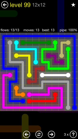 Solution and Answer to the Puzzle for Flow 12mania Pack Set 12x12 Level 99