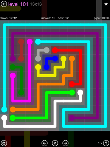 Solution and Answer to the Puzzle for Flow 13mania Pack Set 13x13 Level 101