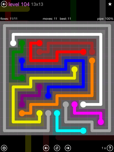 Solution and Answer to the Puzzle for Flow 13mania Pack Set 13x13 Level 104