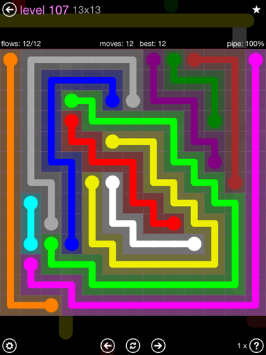 Solution and Answer to the Puzzle for Flow 13mania Pack Set 13x13 Level 107