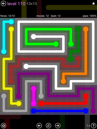 Solution and Answer to the Puzzle for Flow 13mania Pack Set 13x13 Level 110