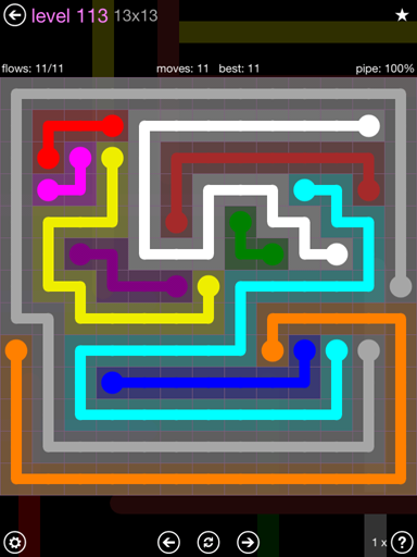 Solution and Answer to the Puzzle for Flow 13mania Pack Set 13x13 Level 113