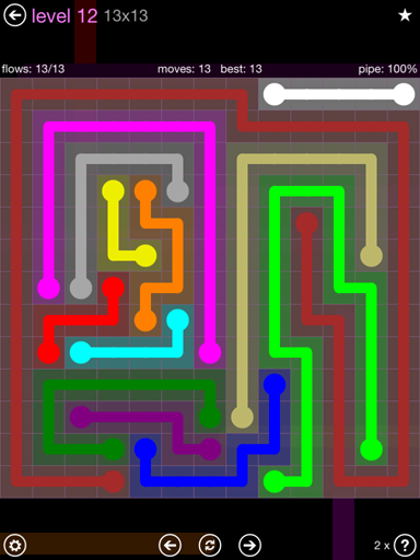 Solution and Answer to the Puzzle for Flow 13mania Pack Set 13x13 Level 12