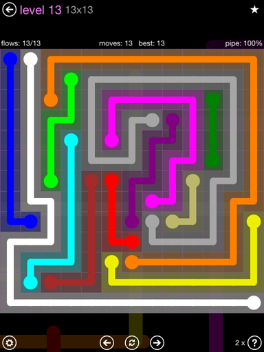 Solution and Answer to the Puzzle for Flow 13mania Pack Set 13x13 Level 13