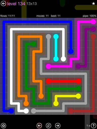 Solution and Answer to the Puzzle for Flow 13mania Pack Set 13x13 Level 134