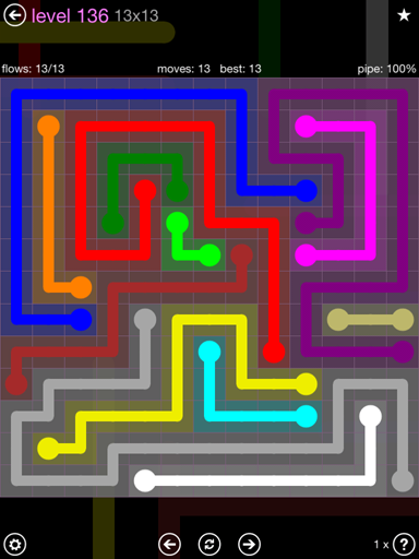 Solution and Answer to the Puzzle for Flow 13mania Pack Set 13x13 Level 136
