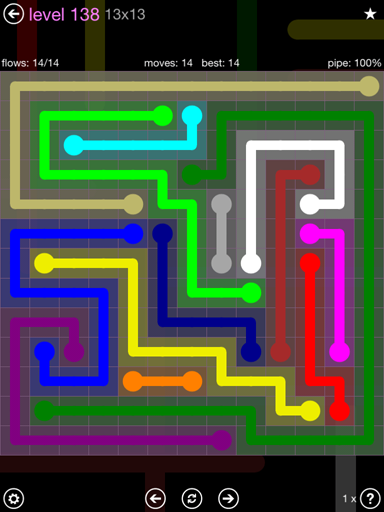 Solution and Answer to the Puzzle for Flow 13mania Pack Set 13x13 Level 138