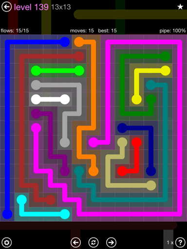 Solution and Answer to the Puzzle for Flow 13mania Pack Set 13x13 Level 139