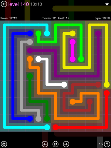 Solution and Answer to the Puzzle for Flow 13mania Pack Set 13x13 Level 140
