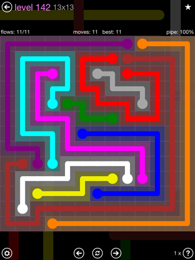 Solution and Answer to the Puzzle for Flow 13mania Pack Set 13x13 Level 142