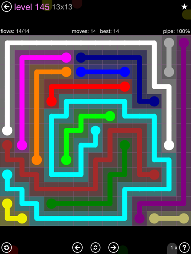 Solution and Answer to the Puzzle for Flow 13mania Pack Set 13x13 Level 145