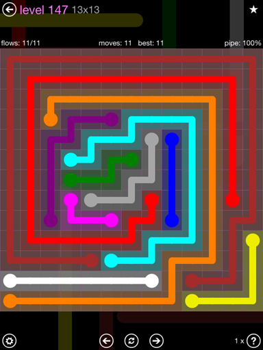 Solution and Answer to the Puzzle for Flow 13mania Pack Set 13x13 Level 147