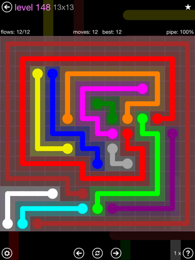 Solution and Answer to the Puzzle for Flow 13mania Pack Set 13x13 Level 148