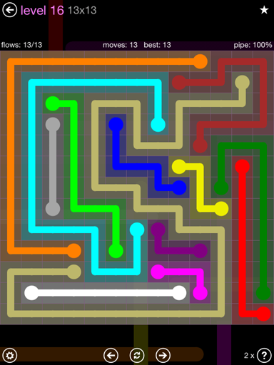 Solution and Answer to the Puzzle for Flow 13mania Pack Set 13x13 Level 16