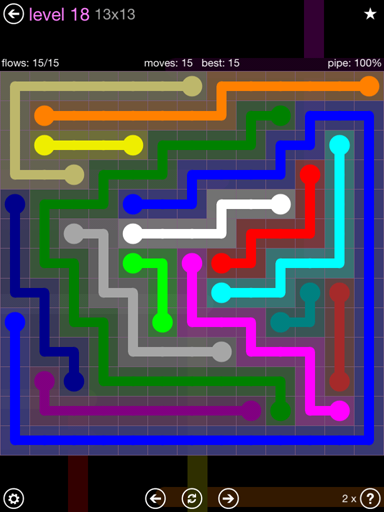 Solution and Answer to the Puzzle for Flow 13mania Pack Set 13x13 Level 18