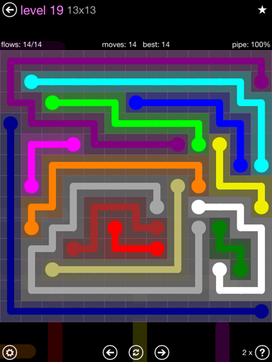 Solution and Answer to the Puzzle for Flow 13mania Pack Set 13x13 Level 19