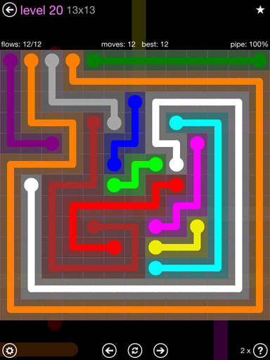 Solution and Answer to the Puzzle for Flow 13mania Pack Set 13x13 Level 20