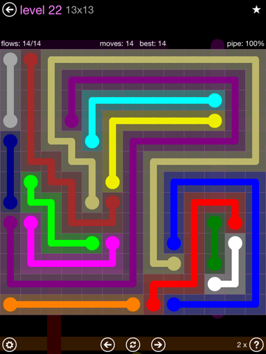 Solution and Answer to the Puzzle for Flow 13mania Pack Set 13x13 Level 22