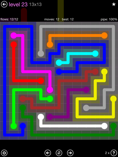 Solution and Answer to the Puzzle for Flow 13mania Pack Set 13x13 Level 23