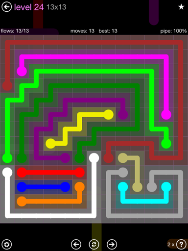 Solution and Answer to the Puzzle for Flow 13mania Pack Set 13x13 Level 24