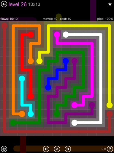 Solution and Answer to the Puzzle for Flow 13mania Pack Set 13x13 Level 26