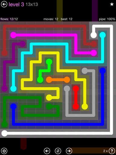 Solution and Answer to the Puzzle for Flow 13mania Pack Set 13x13 Level 3
