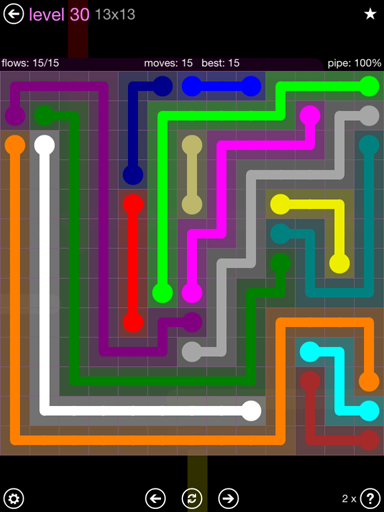Solution and Answer to the Puzzle for Flow 13mania Pack Set 13x13 Level 30