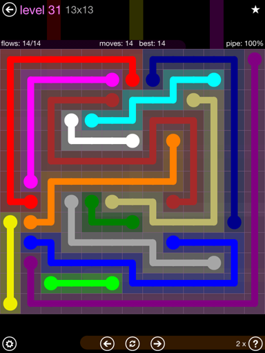 Solution and Answer to the Puzzle for Flow 13mania Pack Set 13x13 Level 31