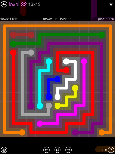 Solution and Answer to the Puzzle for Flow 13mania Pack Set 13x13 Level 32