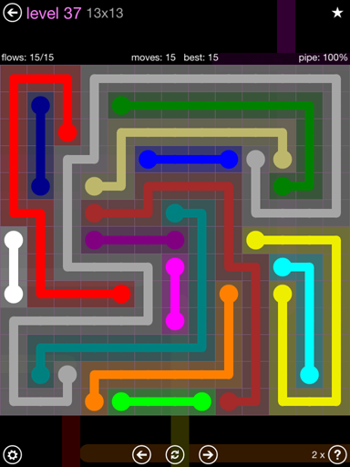 Solution and Answer to the Puzzle for Flow 13mania Pack Set 13x13 Level 37