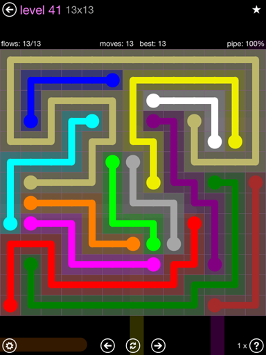 Solution and Answer to the Puzzle for Flow 13mania Pack Set 13x13 Level 41