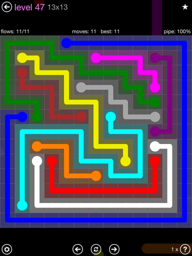 Solution and Answer to the Puzzle for Flow 13mania Pack Set 13x13 Level 47