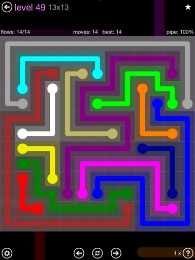 Solution and Answer to the Puzzle for Flow 13mania Pack Set 13x13 Level 49