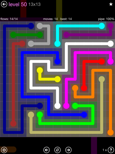 Solution and Answer to the Puzzle for Flow 13mania Pack Set 13x13 Level 50