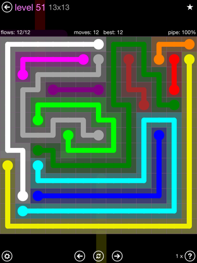 Solution and Answer to the Puzzle for Flow 13mania Pack Set 13x13 Level 51