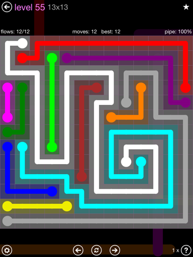 Solution and Answer to the Puzzle for Flow 13mania Pack Set 13x13 Level 55