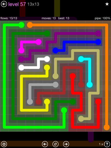 Solution and Answer to the Puzzle for Flow 13mania Pack Set 13x13 Level 57