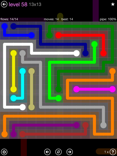 Solution and Answer to the Puzzle for Flow 13mania Pack Set 13x13 Level 58