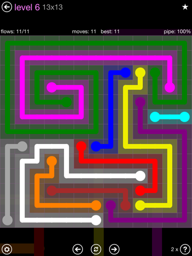 Solution and Answer to the Puzzle for Flow 13mania Pack Set 13x13 Level 6
