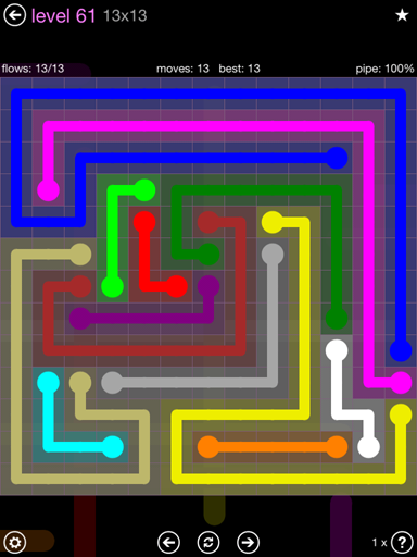 Solution and Answer to the Puzzle for Flow 13mania Pack Set 13x13 Level 61