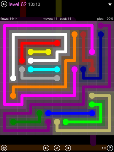 Solution and Answer to the Puzzle for Flow 13mania Pack Set 13x13 Level 62