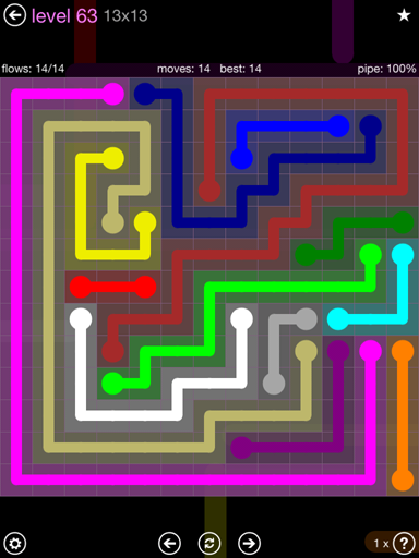 Solution and Answer to the Puzzle for Flow 13mania Pack Set 13x13 Level 63