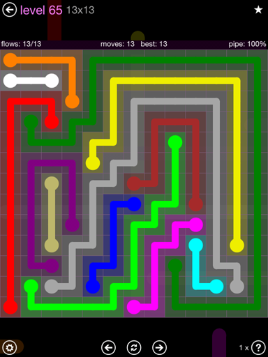 Solution and Answer to the Puzzle for Flow 13mania Pack Set 13x13 Level 65