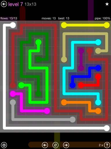 Solution and Answer to the Puzzle for Flow 13mania Pack Set 13x13 Level 7